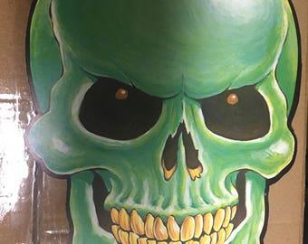 Vintage double sided die cut green skull halloween decor