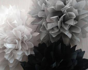 Pack of 10 pom poms / rustic wedding decorations / party decorations / birthdays / home decorations / marquee decorations / black tie dinner