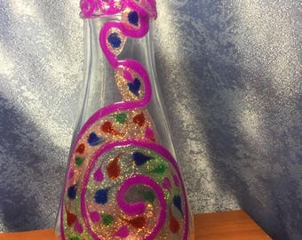 Glass Bottle or Vase ,Hand Painted Stained Glass Look .Collectible Glass Art bottle,Hand made,Design,Collectibles,Art work,Vase,