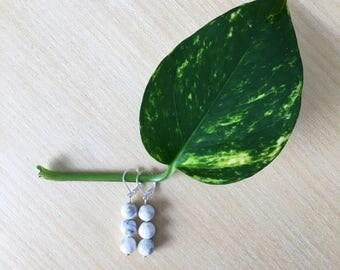 Howlite earrings, Hypoallergenic, Howlite jewelry, Jewelry, Boho jewelry, Beaded earrings, Natural jewelry, Earrings, Gemstone, Czech beads