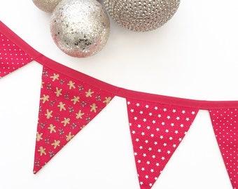 Christmas Bunting, Gingerbread Men, Reds, Whites, Stars
