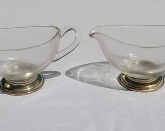 vintage sterling and glass cream and sugar set