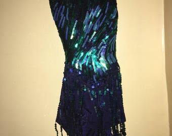 Blue-toned Fringe Dance Costume