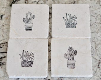Succulent & Cacti Coaster// Cactus Coaster// Stamped Tumbled Marble Coaster// Birthday Gift- set of 4