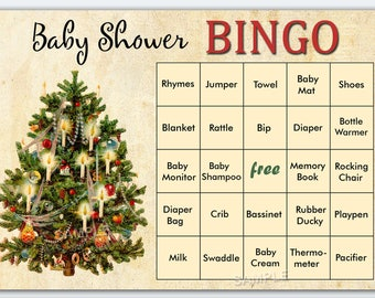 Christmas baby shower bingo, Christmas tree baby shower bingo, vintage baby shower bingo cards ,vintage baby shower Bingo Cards,