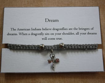 Dream Dragonfly Braided Charm Bracelet