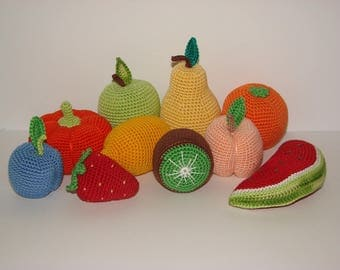Set of  10 fruits, play food,Kids gift crochet toys,Handmade gifts