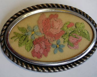 Hand Embroidered Floral Brooch Vintage Oval Pin Roses and Leaves