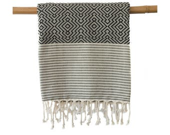 OTIS Black Turkish Towel Peshtemal