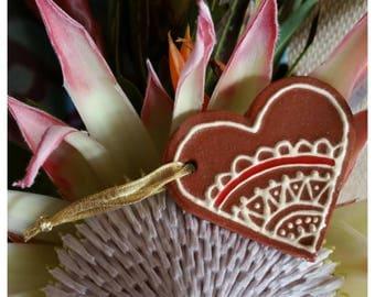 Ceramic Henna Heart Ornament, Handmade