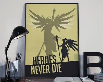 Overwatch Mercy Poster, Video Games Decor, Heroes Never Die, Mercy Wall Art, Geek Decor, Mercy Print, Overwatch Poster, Gamer Gift