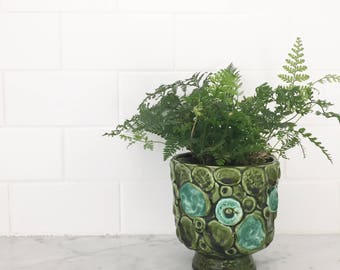MIDCENTURY vintage avocado green & turquoise pottery planter pot.