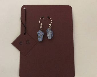 Blue Wire Wrapped Stone Earrings