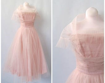 KEEP IT LIGHT Vintage 50s Dress | 1950s Pink Tulle Prom Dress with Full Skirt  | Formal, Bridal, Quinceanera, Rockabilly, VlV | Size Small