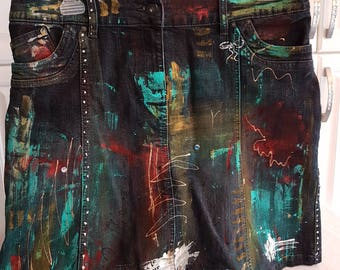 Boho Bohemian Upcycled, Revamped Hand Painted Vintage Denim Woman's / Girl's Skirt, Studs, Stenciled, Bleached, Abstract Intuitive Painted