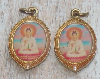 Thailand Brass Colorful Double Sided Chinese Sitting and Standing Buddhist Charm