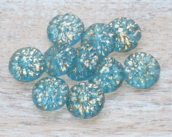 14mm Czech Glass Dahlia Beads Aqua and Gold (6pcs) - Czech Glass Beads-Flower Beads