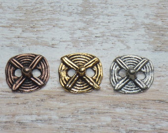 Tribal Buttons in Brass, Silver, or Copper, Copper Buttons, Silver Buttons, Bracelet Buttons