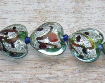 Large Lampwork Glass Heart Foil Green and Grey and Mixed Color Beads 10pcs 19mm