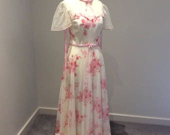 Vintage 1970's maxi dress in pink floral over white UK size 10