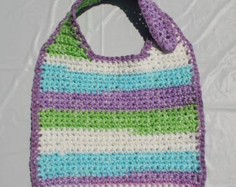 Crocheted Baby Bib - Sweet Pea Stripes, Peaches & Creme Cotton