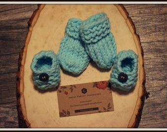Baby Blue Knit Mittens and Booties Set for Newborn
