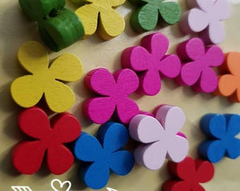 20 colored mixed 18mm clover flower beads