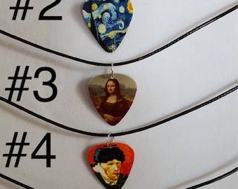 Guitar art pick necklace