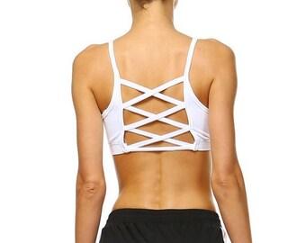 Criss-Cross Back Sports Bra – White