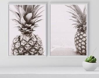 Pineapple Art Print Set, Pineapple wall art set, Tropical Posters, Set of 2 Prints, Tropical Art Prints, Tropical Wall Arts, Room Decor,