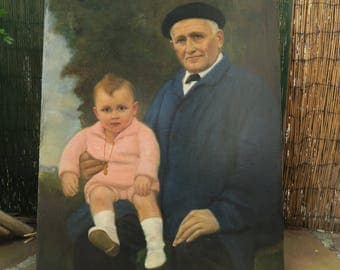 Peinture ancienne portrait de aitachi & petit fils Pays Basque signé Jounea 1924 - Ancient painting of the Basque Country
