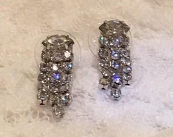 Clear Rhinestone Light Catching Waterfall Silver Tone Vintage Pierced Earrings