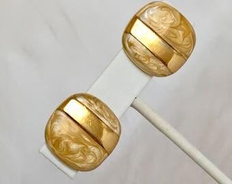 Monet Gold Swirl Enamel Earrings, Rectangle, Rectangular, Gold Tone, Clip On, Vintage, 1980s