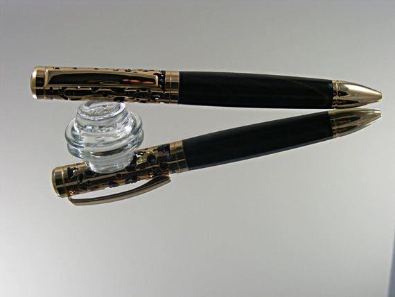Filigree Ink Pen in 24K Gold over Black Enamel with Wood Color Grain
