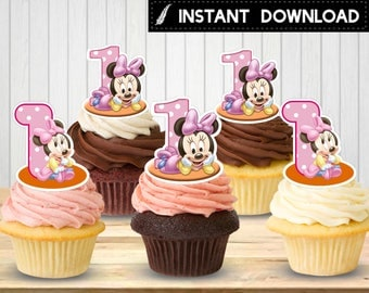 Instant Download - Baby Minnie Mouse Cupcake Toppers First 1st Birthday Party Printable Pink Polka Dots Printable DIY - Digital File
