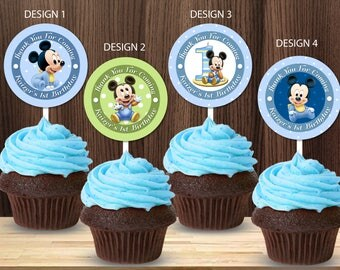 Personalized Baby Mickey Mouse 1st First Birthday Cupcake Topper Favor Labels Tag Tags Stickers Birthday Party Printable DIY - Digital File