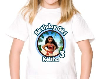 Personalized Moana Birthday Tee Shirt Tshirt Girl Party Tshirt Image Iron On Transfer For DIY - Digital File