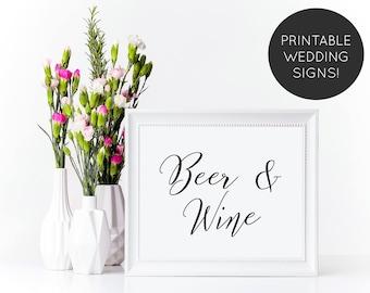 Beer and Wine Wedding Sign, Wedding Bar Sign, Bar Signage, Beer and Wine Sign, Reception Sign, Wedding Sign, Wedding Reception Sign