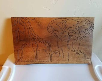 Giraffe & Elephant Picture