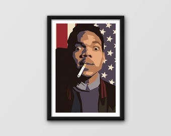 Chance the Rapper poster / Colouring Book / Acid Rap / Minimalist music Poster, unique hand designed & printed A3 poster