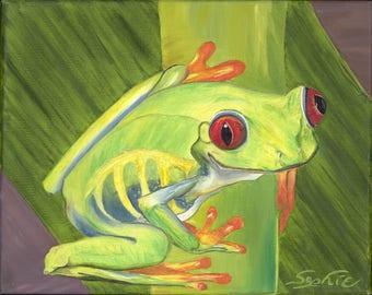 "Oil Tree Frog Painting / 8"" x 10"" Print"