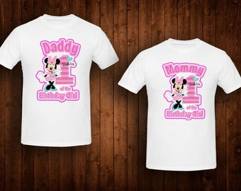 family shirts hot pink minnie mouse standing birthday theme mom of the birthday girl dad of the birthday girl