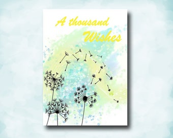 A Thousand Wishes, Special Friend, Watercolor Art, Dandelion Painting, Handmade Card, Lined Envelope, Inspiring Words, God of Love, With You