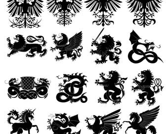 Heraldic animal #2 Svg/Eps/Png/Jpg/Cliparts,Printable, Silhouette and Cricut File !!!