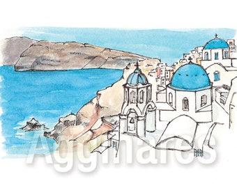 Santorini Greece / art print from an original watercolor painting