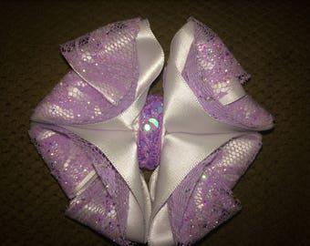 Cute Sparkly Hair Bow, Lilac Hair Bow, Lilac and White Hair Bow,