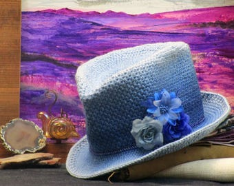 Blue Western Style Top Hat