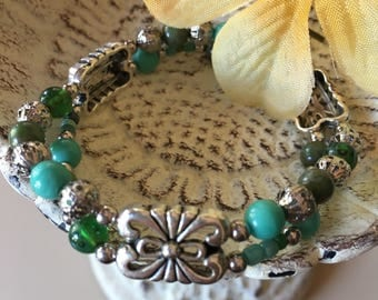 "Unique "" Calming and Refresh"" double strand stretch bracelet"
