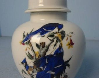 """Listing 98 is the National Audubon Society 8""""H porcelain vase with gold trim"""