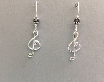 Treble clefs sterling silver earrings